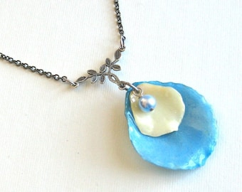 Real Double Rose Petal Necklace - Blue Cream, Real Flower Jewelry