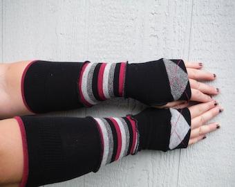 Black, pink and grey striped fingerless gloves, argyle gloves, adult fingerless gloves, seasonal accessory GLV#061
