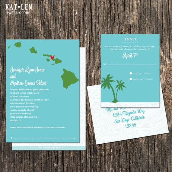 hawaii wedding invitation destination wedding invitation, Wedding invitations