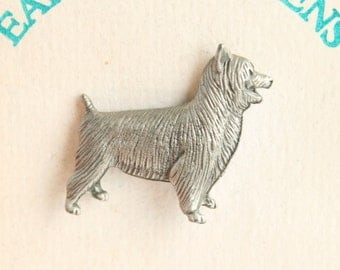 Cairn Terrier Dog Pin Vintage Figural Pewter Tie Tac Pin Brooch