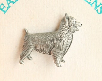 Cairn Terrier Pin Vintage Dog Figural Pewter Tie Tac Pin Brooch