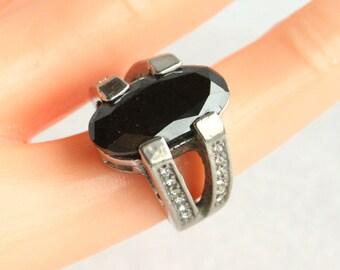 Art Deco Black Silver Ring Chunky Vintage Costume Jewelry Black Glass Diamond Rhinestone Accents Ring Size 5