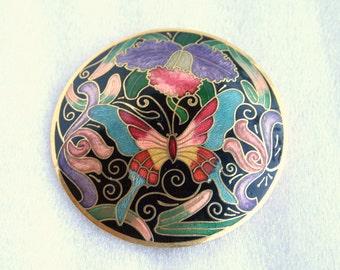 Cloisonne Butterfly Belt Buckle Vintage Round Floral Flowers Pink Blue Black Purple