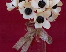 Wood Daisies with dark centers in Glass Jar, Mom gift, wood flowers, birthday,get well soon,five year anniversary, weddings, rustic