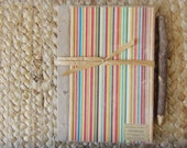 Natural Kraft Blank Sketch/Scrap/Notebook -5 x 7/50 Pages/Rainbow Striped/Rustic/Vintage-Look/Cottage/Shabby Chic