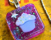Purple Glitter Cupcake Pendant on Silver Chain, Resin Cupcake Necklace, Cupcake Jewelry, Cupcake Lovers Necklace, Cupcake Resin Pendant