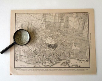 Vintage 1940 Montreal Canada City Map
