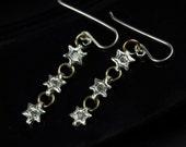 Silver Star Chain Dangle Earrings