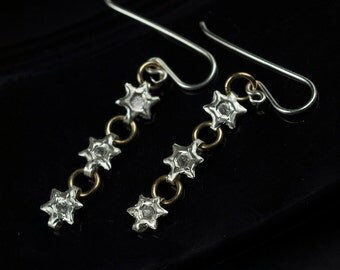 Silver Star Chain Dangle Earrings