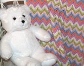 Pastel Chevron Baby Afghan, Crocheted Ripple, Zig Zag Afghan, Baby Chevron Blanket, Newborn Afghan, Receiving Blanket, Ready To Ship