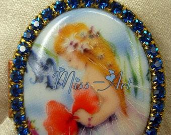Spring Fairy Abstract Porcelain Cameo Locket Pendant Blue Glass Rhinestones Solid Brass Necklace Seasons Miss-art SparklingTreasures2U