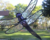 Dragonfly stained glass suncatcher, textured glass clear  wing dragonfly,  blue body, window decor,
