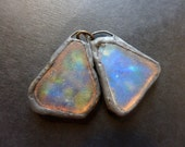 Shimmer beach glass earring pair with solder and flash. Faux Roman glass. 8