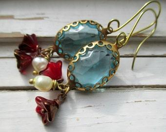 Ariel, ocean blue glass jewels with pearl and ruby flower dangles, romantic dangle earrings