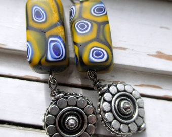Mustard tribal earrings, Societa Veneziana Conterie Murano beaded earrings with silver accents