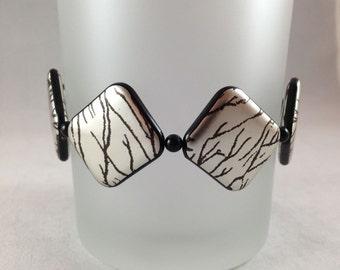 Lightweight Black & Silver Stretch Bracelet, Black Stretch Bracelet, Silver Stretch Bracelet by Timeless Inspirations, Diamond Bracelet