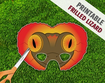 Frilled Neck Lizard Mask | Lizard Mask | Reptile Party Mask | Halloween Costume