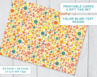Color Blind Test Fake ~ Instant Download Printable Cards & Tags Set ~ 2 Sizes of Cards plus Gift Tags