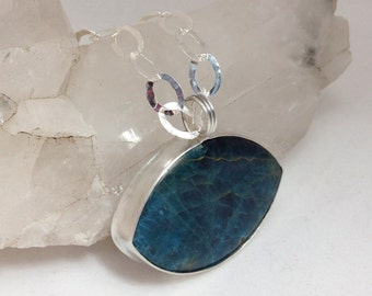 Large Modern Apatite Pendant on Sterling Silver Chain Necklace
