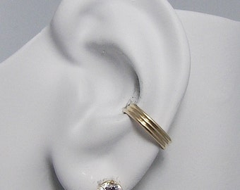 Ear Cuff, Gold Ear cuff, Non-pierced, Cartilage Wrap, Earring Fake Conch, No Piercing, Cuff Earring, Faux Pierced Hoop Triple Dome  ETDGF