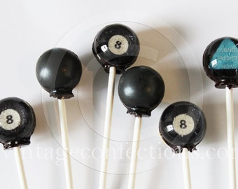 6 piece Magic 8 ball Lollipops by Vintage Confections