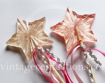 3 piece candy star wand Lollipops by Vintage Confections