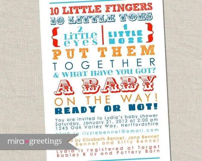 10 Little Fingers Orange and Blue Baby Shower Invitation - Printable Digital File