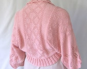Peach Hand Knitted Shrg Sweater,  Comfort Fit Shrug Sweater, Womans Hand Knit Shrug Sweater, Diamond and Lace Shrug Sweater