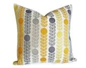 Mid Century Modern Pillows, Danish Pillow, Cream Yellow Grey Flowers, 16x16, 18x18 20x20 22x22 Lumbar