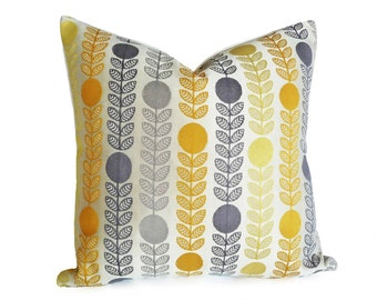 Mid Century Modern Pillows, Danish Pillow Covers, Cream Yellow Grey Floral Cushion, Yellow Grey Pillows, 12x18 Lumbar, 16x16, 18x18, 20x20