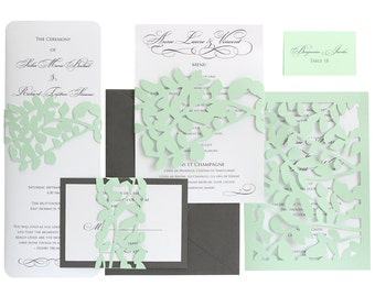 Leaf Lace Wedding Invitations - mint green, slate gray, wedding invites, lasercut, leaves, vines, garden, lacey, nature, natural, white