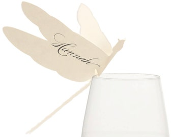 Dragonfly Place Cards - wedding, cream, ecru, white, neutral, escort card, table number, laser cut, wine glass, glass sitter, ivory, elegant