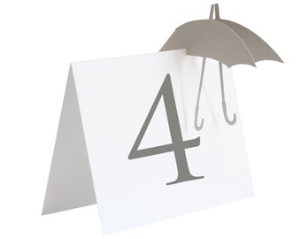 Umbrella Table Numbers - wedding shower, bridal shower, baby shower, laser cut, gray, white, table sign, adorable, cute, sweet, pretty, mod