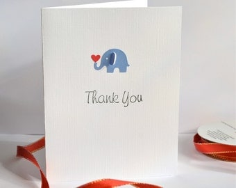 Set of 6 - Elephant Thank you Cards, Greeting Cards, Note Cards, Baby Shower