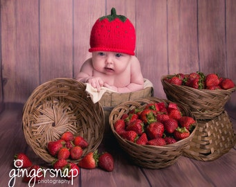 Baby Strawberry Hat Hand Knit