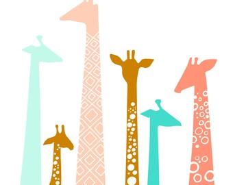 "11X14"" giraffe silhouettes giclée print on fine art paper. rust, coral, teal."