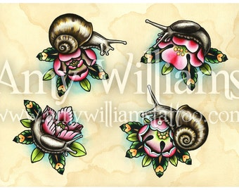 Slugs & Snails Tattoo Art A3 Print