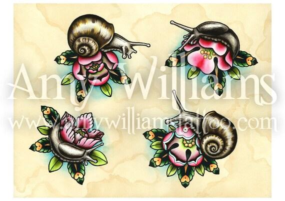 Slugs & Snails Tattoo Art A3 Print
