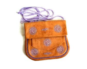 French Vintage Handmade Maroccan Leather Shoulder Bag