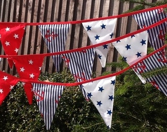 Long Nautical Party Bunting  - 20 flags - 12ft long Fabric Garland Banner,