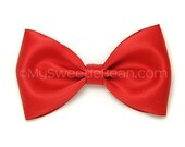 """Red Satin Bow, 4 inch Hair Bow, Alice Bow, Bow Tie Hair Bow, Cherry Red Satin Bow for Women, Girls, Choose Colors, 4"""" Satin Bow, Wedding"""