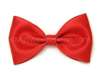 "Red Satin Bow, 4 inch Hair Bow, Alice Bow, Bow Tie Hair Bow, Cherry Red Satin Bow for Women, Girls, Choose Colors, 4"" Satin Bow, Wedding"