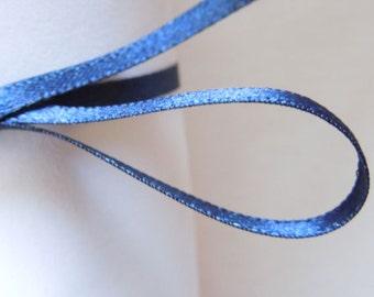 3 mm Navy Blue Satin Ribbon by Berisfords, 1/8 inch Dark Blue Plain Narrow Fabric Ribbon for sewing & crafts