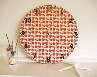 CLEARANCE SALE Vintage Wall Clock Face 1950s Retro Apples and Cheeries