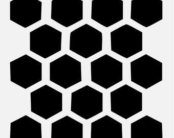"1.40"" HONEYCOMB BEEHIVE HEXAGON stencil bee bees stencils template templates craft background scrapbook paint pattern new 8"" x 10"" #3"