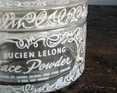 1940s Art Deco Lucien Lelong Glass Face Powder Glass Box