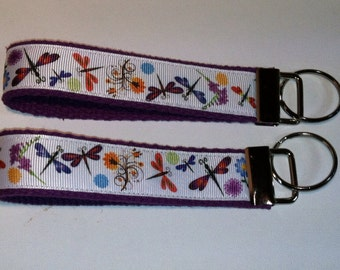 Dragonflies and Spring Flowers Keyfobs