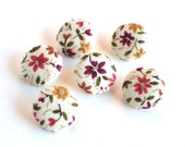 Fabric Buttons Autumn Flowers 6 Small Fall Terracotta, Yellow, Brown and Beige Floral and Leaves Fabric Covered Buttons