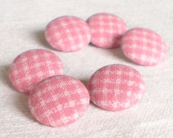 Fabric Covered Buttons, Baby's Pink Gingham, 6 Small Fabric Button, Handmade Baby Pink Button, Sewing, Clothing, Knitting, for Baby Dress