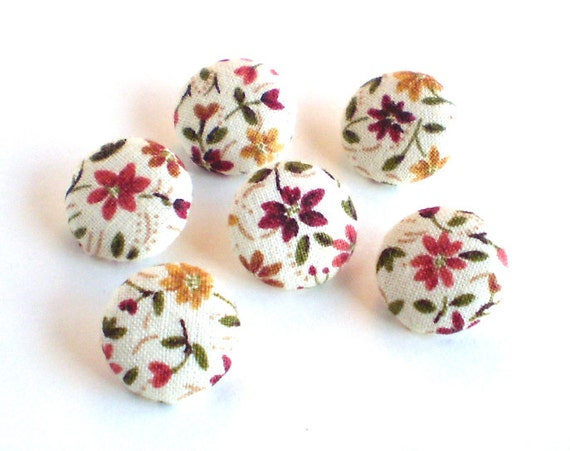Fabric Buttons, Autumn Flowers, 6 Small Button, Fabric Covered Buttons, Fall Terracotta Yellow Brown Beige Floral Button, Sewing Clothing